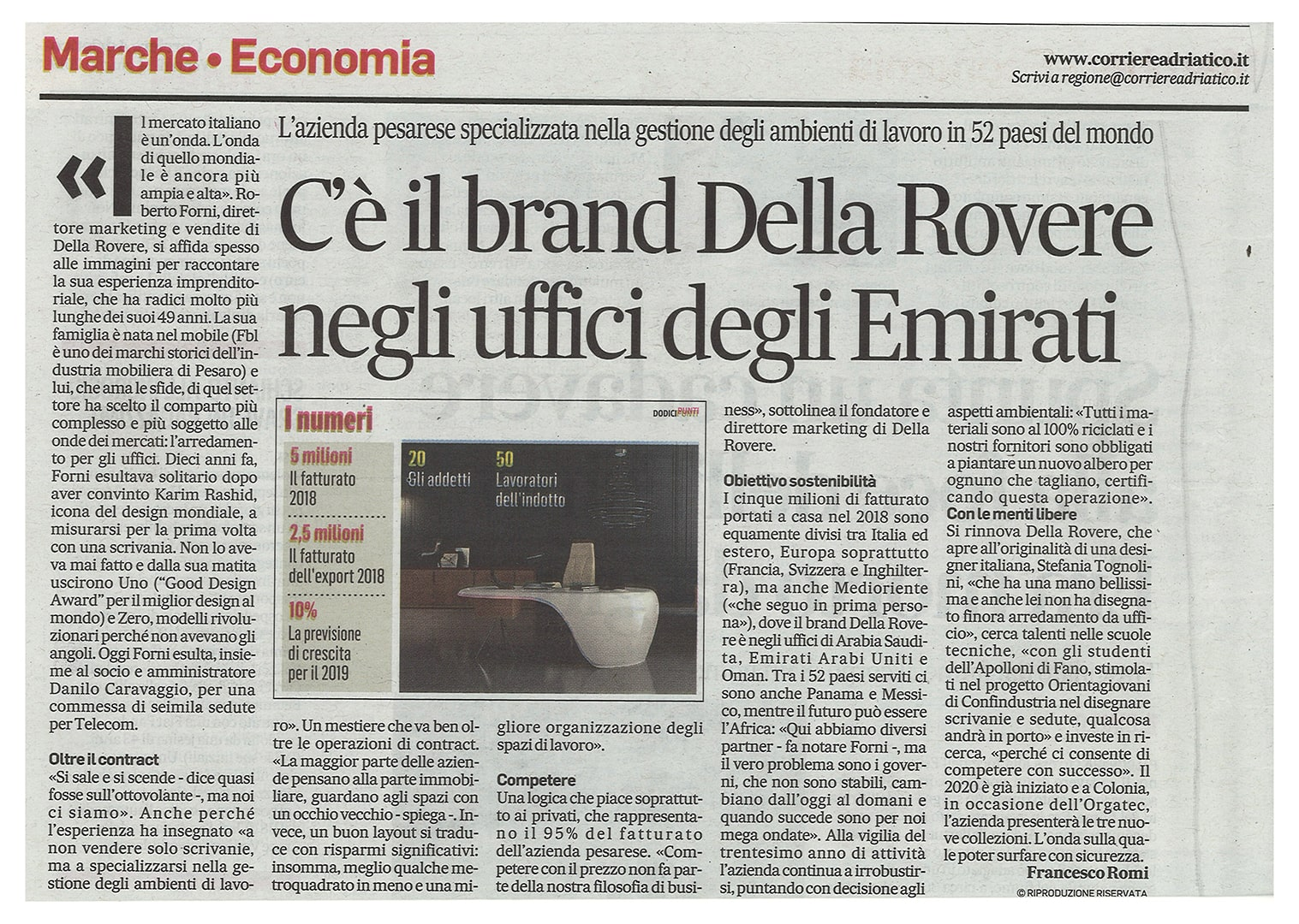 Della Rovere makes the news